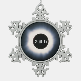 2024 Total Solar Eclipse in Black and White Snowflake Pewter Christmas Ornament