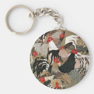 20. 群鶏図, 若冲 Flock of Roosters, Jakuchu Basic Round Button Key Ring