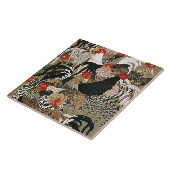 20. 群鶏図, 若冲 Flock of Roosters, Jakuchu, Japan Art Large Square Tile