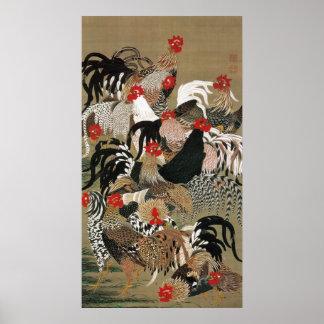 20. 群鶏図, 若冲 Flock of Roosters, Jakuchu Poster