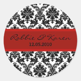 "20 - 1.50"" Black Damask & Red Favor Stickers"