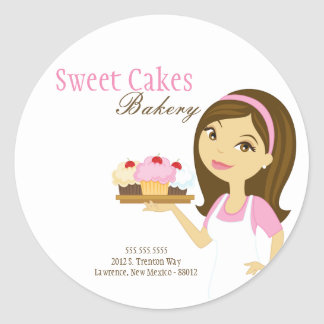 "20 - 1.5""  Bakery Brunette Baker Address Stickers"