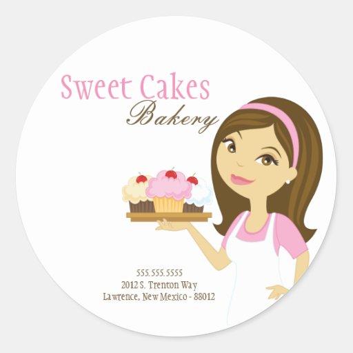 """20 - 1.5""""  Bakery Brunette Baker Address Stickers"""