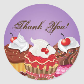 "20 - 1.5""  Cup Cakes Bakery Thank You Stickers"