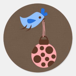 "20 - 1.5"" Envelope Seal Blue Bird / Christmas Orna Round Sticker"