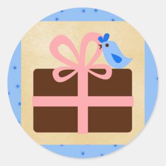 """20 - 1.5"""" Envelope Seal Christmas Present Blue Bir Round Sticker"""