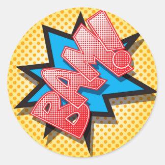 20 - 1.5  Envelope Seal Comic Strip Book Pop Art Round Sticker