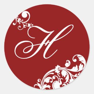 """20 - 1.5""""  Envelope Seal Crimson Red White Floral Round Sticker"""