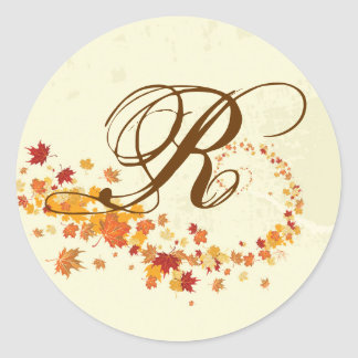 20 - 1.5  Envelope Seal Fall Breeze Autumn Leaves Round Stickers