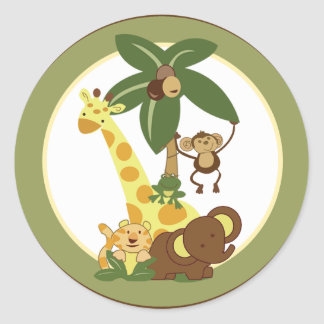 "20 - 1.5"" Envelope Seal Jungle Babies Round Sticker"
