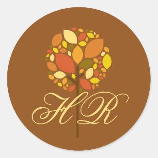 20 - 1.5  Envelope Seal Modern Autumn Tree Fall Round Stickers