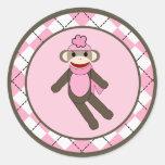 "20 - 1.5""  Envelope Seal Pink Argyle Sock Monkey"