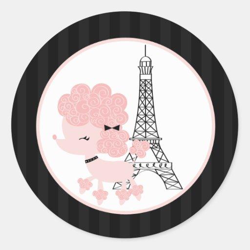 "20 - 1.5""  Envelope Seal Pink Poodle in Paris Stickers"
