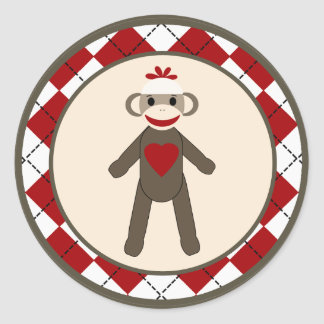 "20 - 1.5""  Envelope Seal Red Sock Monkey Argyle Round Sticker"