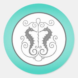 "20 - 1.5"" Envelope Seal Seahorse Anchor Turquoise Round Sticker"