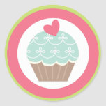 "20 - 1.5""  Envelope Seal Tea Party Cupcake Pink Round Stickers"