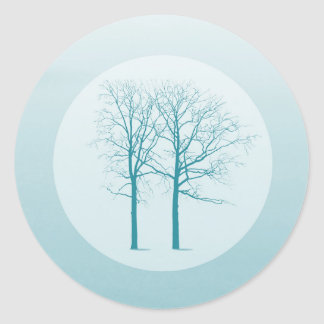 20 - 1.5  Envelope Seal Two Winter Trees Snow Path Round Sticker