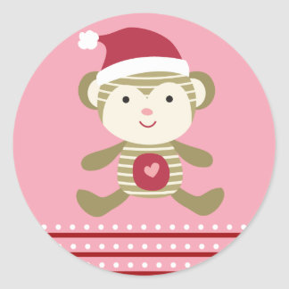 "20 - 1.5"" Envelope Seal Winter Monkey in Santa Hat Round Sticker"