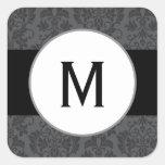 "20 - 1.5"" Envelope Sticker Black Grey Formal Gothi"