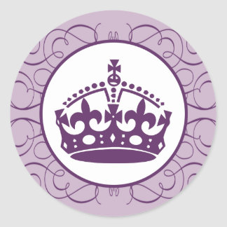 "20 - 1.5"" Envelope Sticker Royal Purple Crown/Swir"