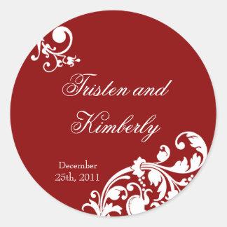 """20 - 1.5""""  Favor Stickers Crimson Red Floral Filig"""