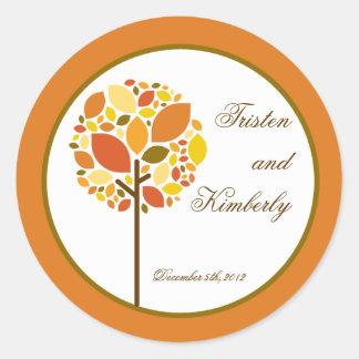 "20 - 1.5""  Favor Stickers Modern Autumn Tree Fall Round Sticker"