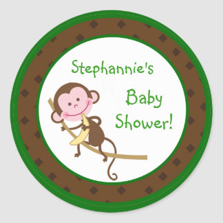 "20 - 1.5""  Favor Stickers MonkeySwing Jungle Safar Round Sticker"