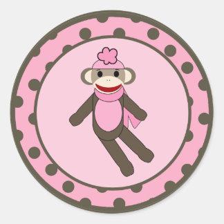 """20 - 1.5""""  Favor Stickers Pink Sock Monkey"""