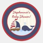 "20 - 1.5""  Favour Stickers Ahoy Nautical Whale"