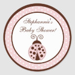"20 - 1.5""  Favour Stickers Pink Ladybug"