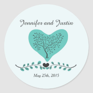 20 - 1.5 Inch Envelope Seal Blue Tree and Heart Round Sticker