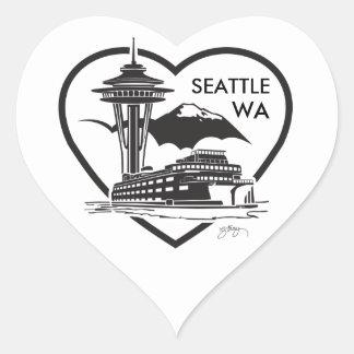 20, 1.5 inch heart shaped stickers of Seattle WA