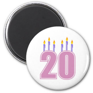 20 Birthday Candles (Purple / Pink) 6 Cm Round Magnet