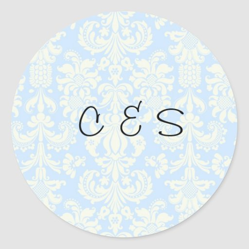 20 Blue/White Damask Wedding Favor Stickers