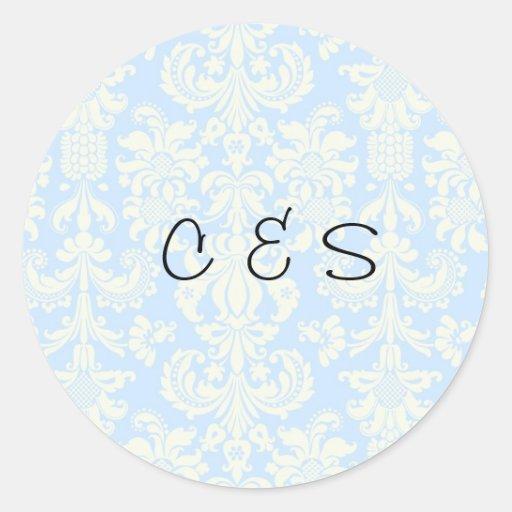 20 Blue/White Damask Wedding Favor Stickers