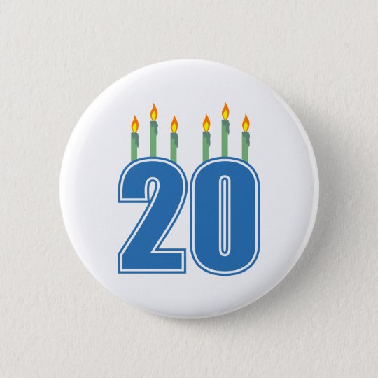 20 Candles (Blue / Green) 6 Cm Round