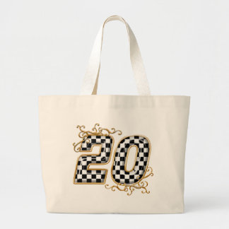 20 checkers flag number gold canvas bags
