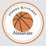 20 Customisable Cupcake Toppers Basketball Round Stickers