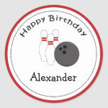 20 Customisable Cupcake Toppers Bowling Party Round Sticker