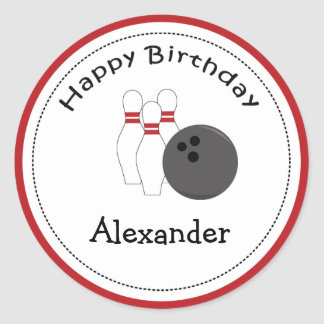 20 Customizable Cupcake Toppers Bowling Party Round Sticker