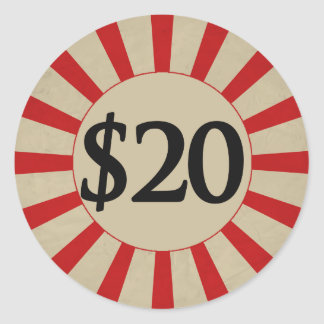 $20 (Dollar) Round Glossy Price Tag Round Sticker