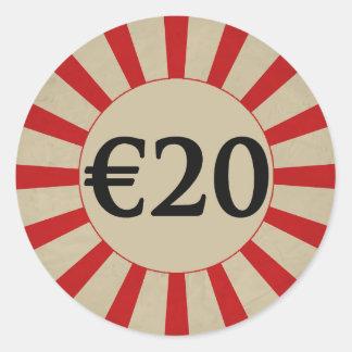 €20 (Euro) Round Glossy Price Tag Round Sticker