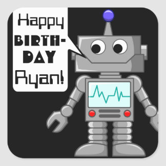 20 Happy Birthday Personalised Robot Stickers