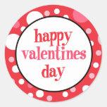 20 Happy Valentines Day Cupcake Toppers Round Sticker