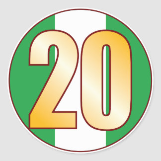 20 NIGERIA Gold Classic Round Sticker