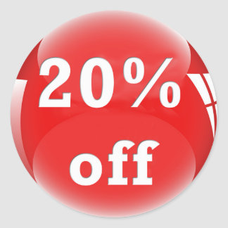 20% Off (Percent) Round Glossy Sticker