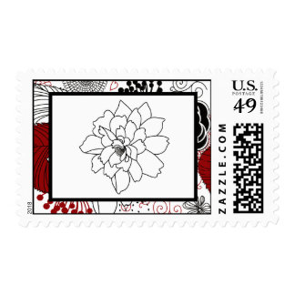 20 Postage Stamps Black Flowers Red Leaves