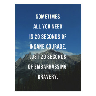 20 Seconds Of Insane Courage Quote Postcard