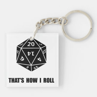20 Sided Dice Roll Double-Sided Square Acrylic Key Ring