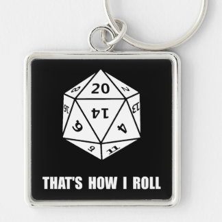 20 Sided Dice Roll Silver-Colored Square Key Ring